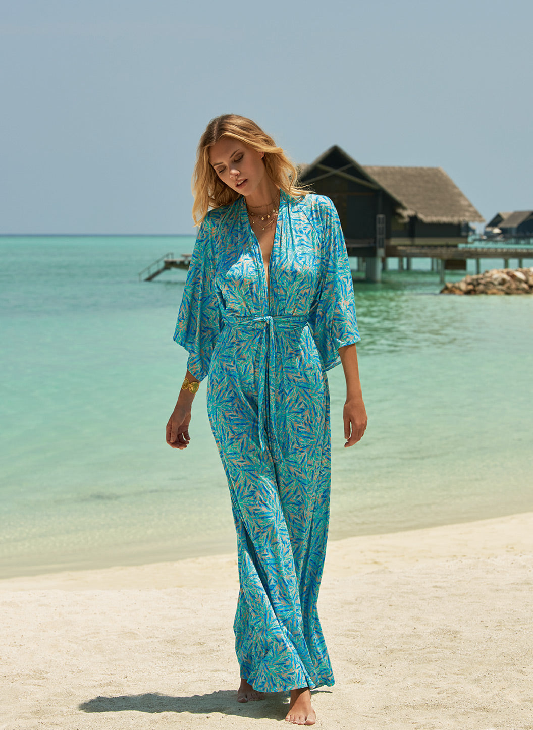 Annaelle Blue Leaf Long Sleeve Belted Maxi Dress - Melissa Odabash Beachwear