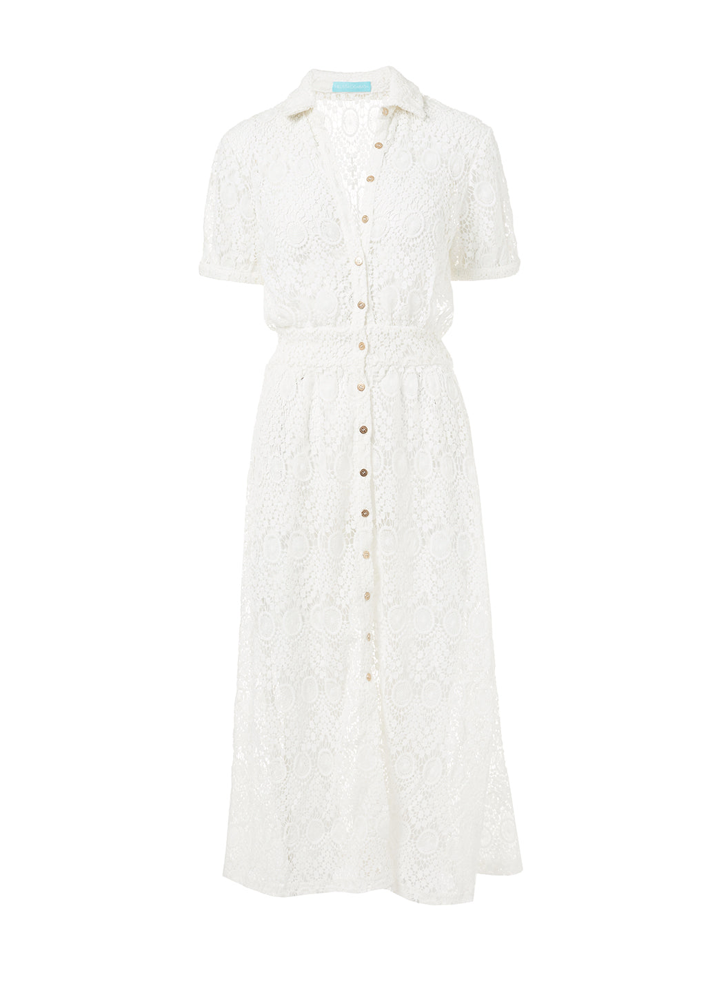 April Cream Lace Midi Button-Down Shirt Dress