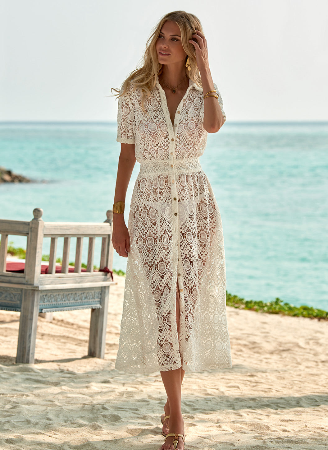 April Cream Lace Midi Button-Down Shirt Dress - Melissa Odabash Beach Dresses