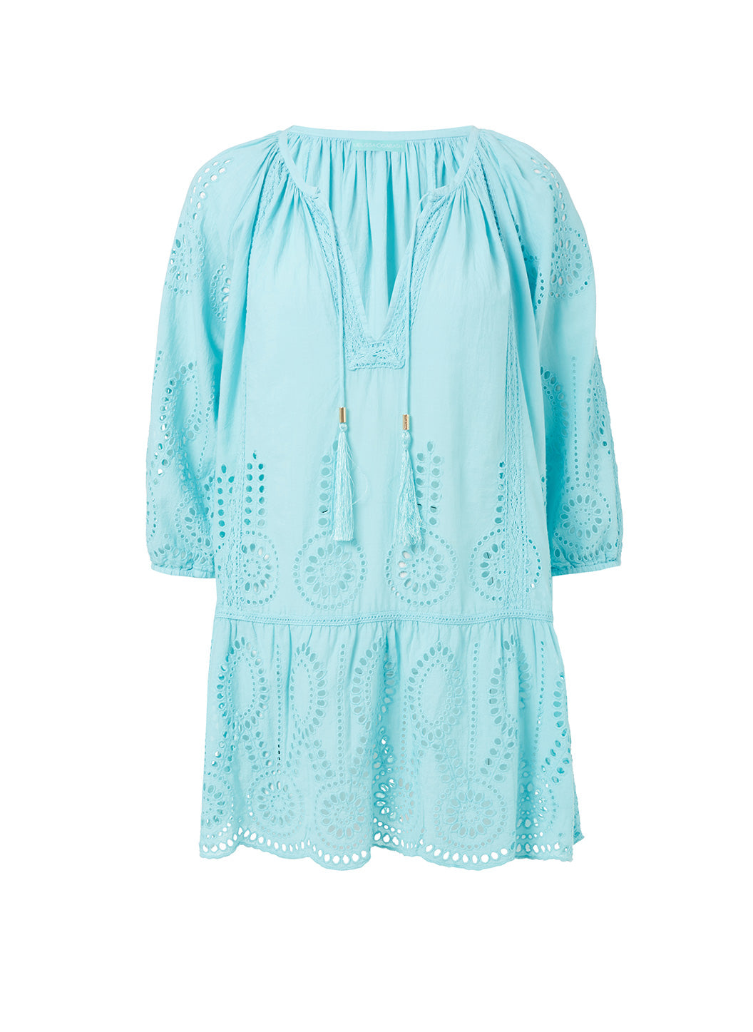 Ashley Sky Embroidered 3/4 Sleeve Short Cover-Up  - Melissa Odabash Dresses & Kaftans