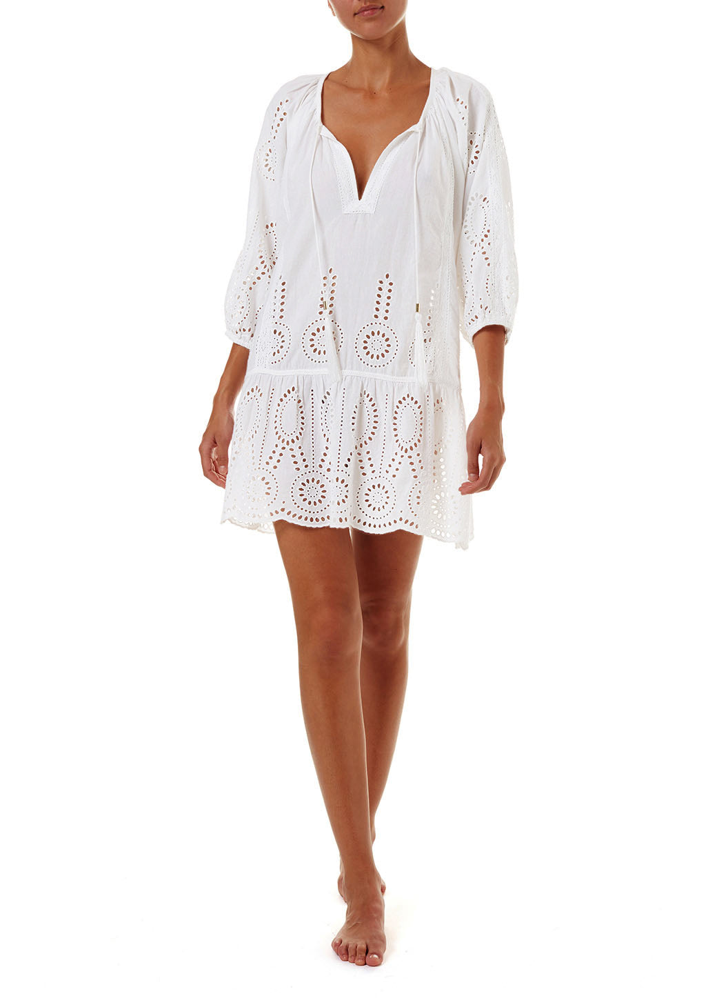 Ashley White Embroidered 3/4 Sleeve Short Cover-Up