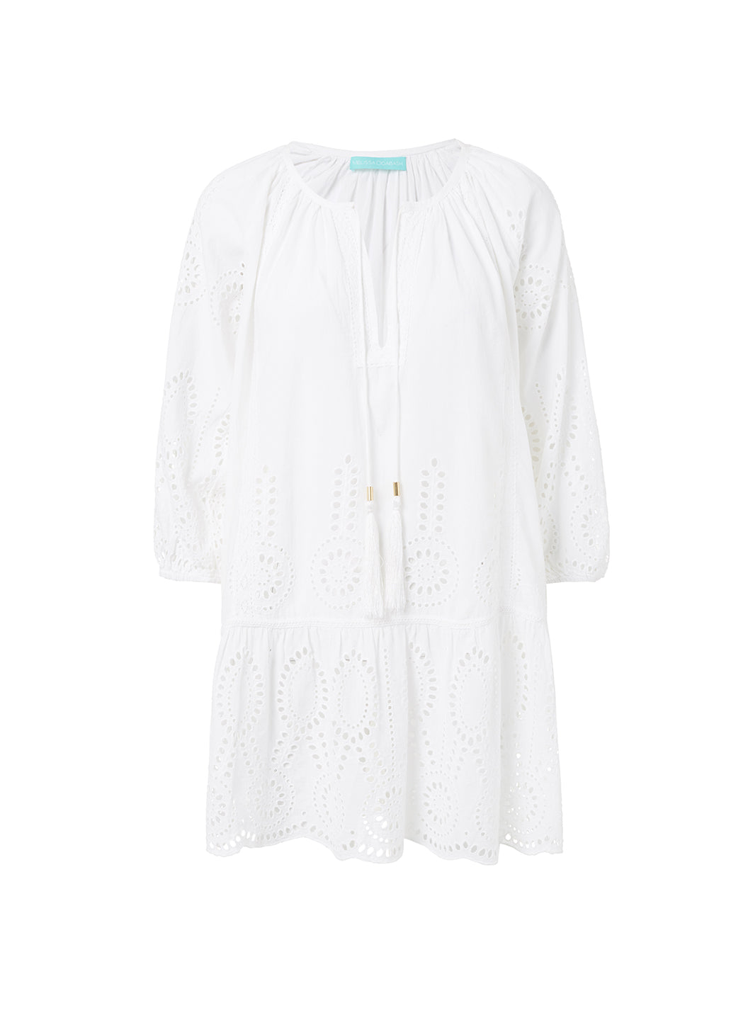 Ashley White Embroidered 3/4 Sleeve Short Cover-Up  - Melissa Odabash Beachwear