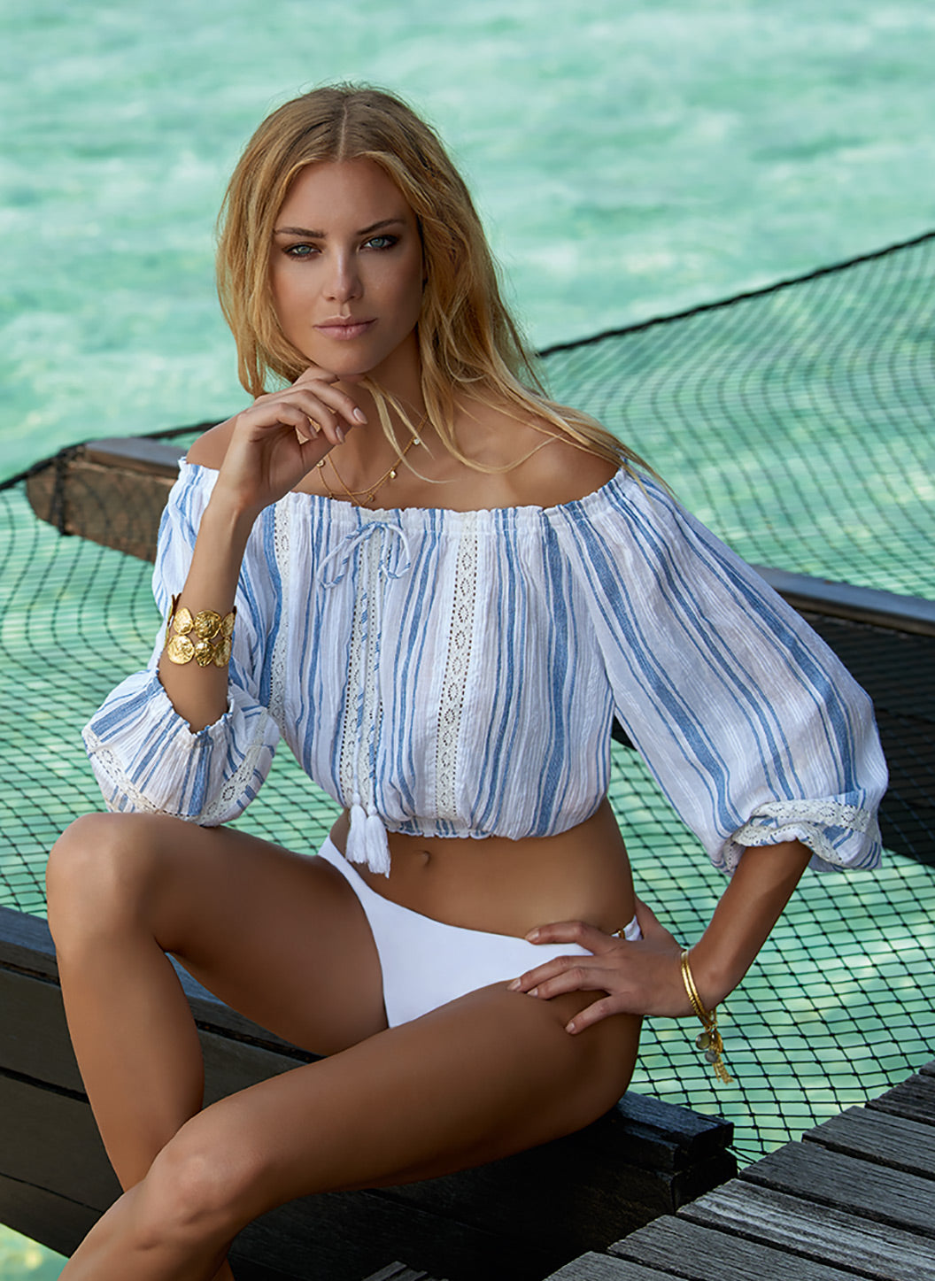 Azura Blue Stripe Off The Shoulder Top - Melissa Odabash Beachwear