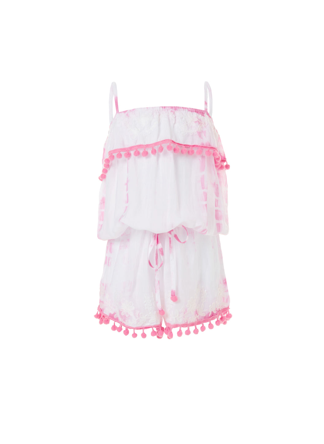 Baby Eisha Pale Pink Tie Dye Playsuit - Melissa Odabash Kids Beach Dresses