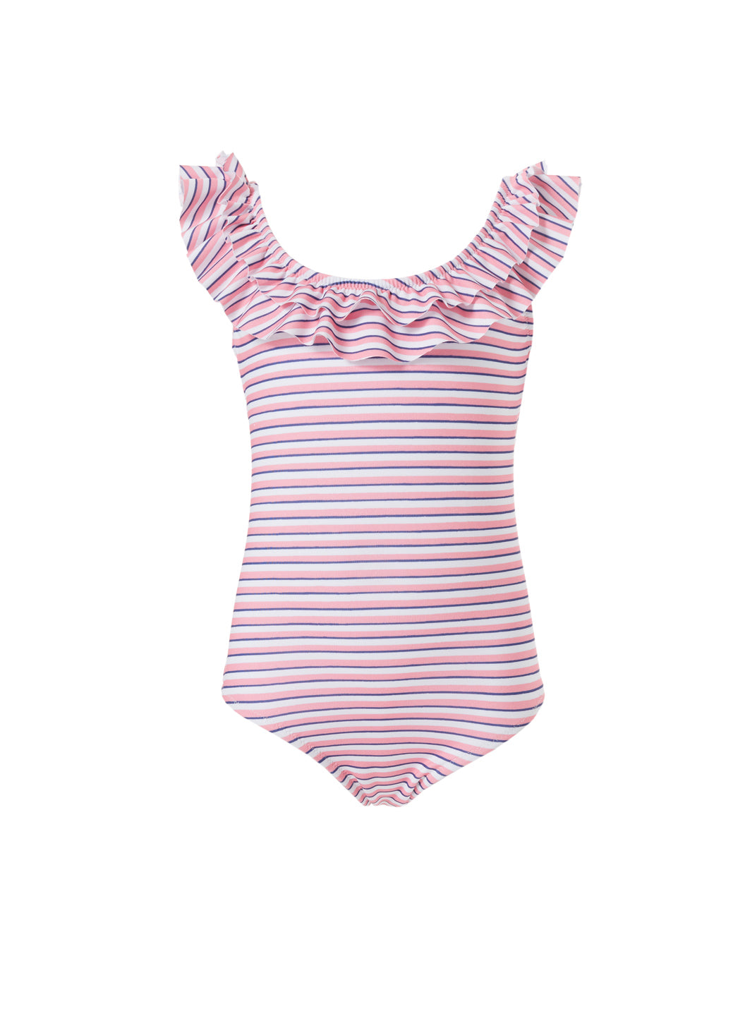 Baby Missy Pink Stripe Over the Shoulder Frill Onepiece Swimsuit - Melissa Odabash Swimwear