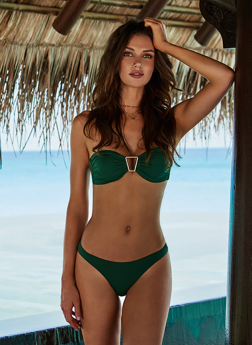 Barcelona Forest Bandeau Triangle Trim Bikini