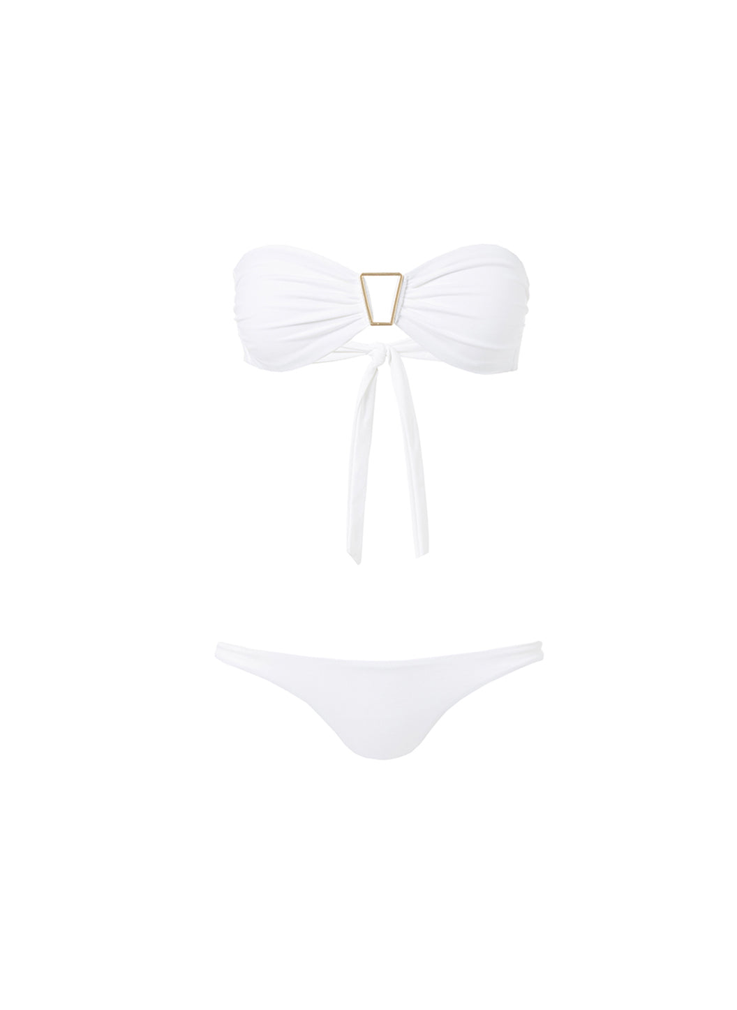 Barcelona White Bandeau Triangle Trim Bikini