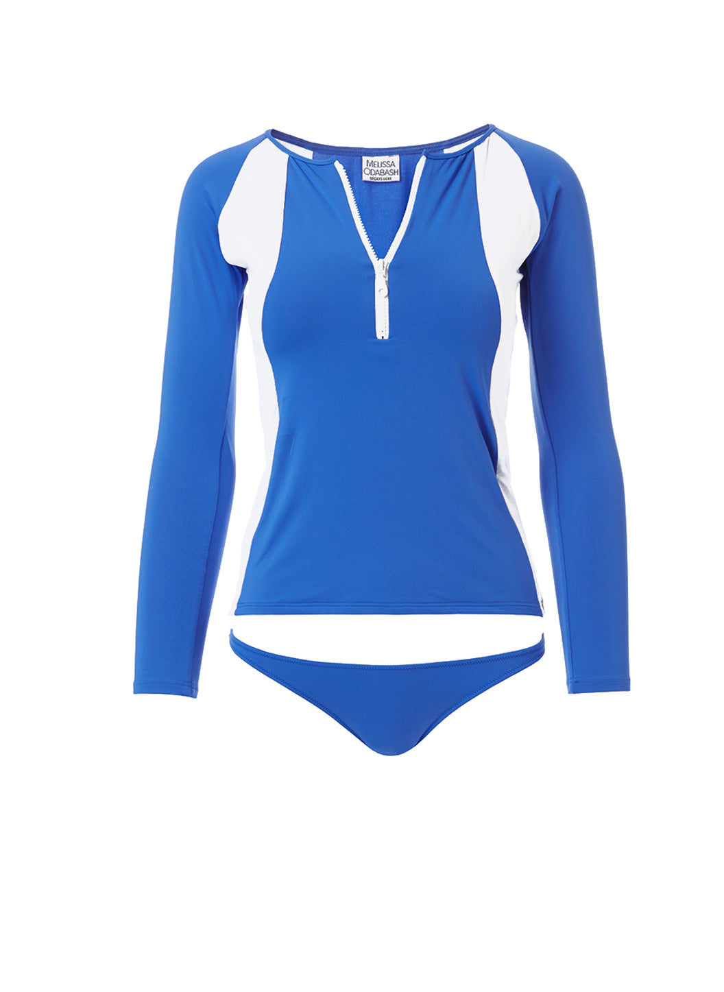 Bondi Cobalt White Sports Long Sleeve Rash Vest - Melissa Odabash Zip Up Bikinis