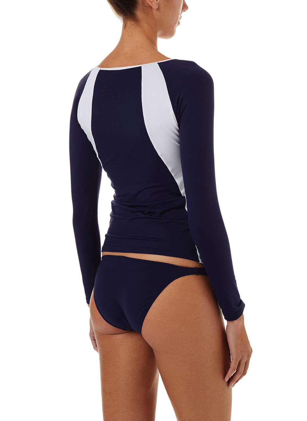 Bondi Navy White Sports Long Sleeve Rash Vest