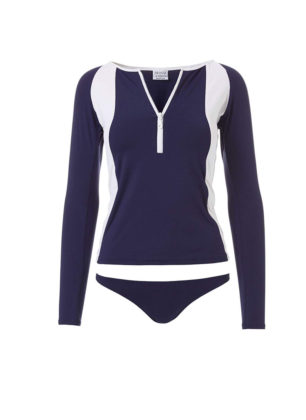Bondi Navy White Sports Long Sleeve Rash Vest - Melissa Odabash Swimwear