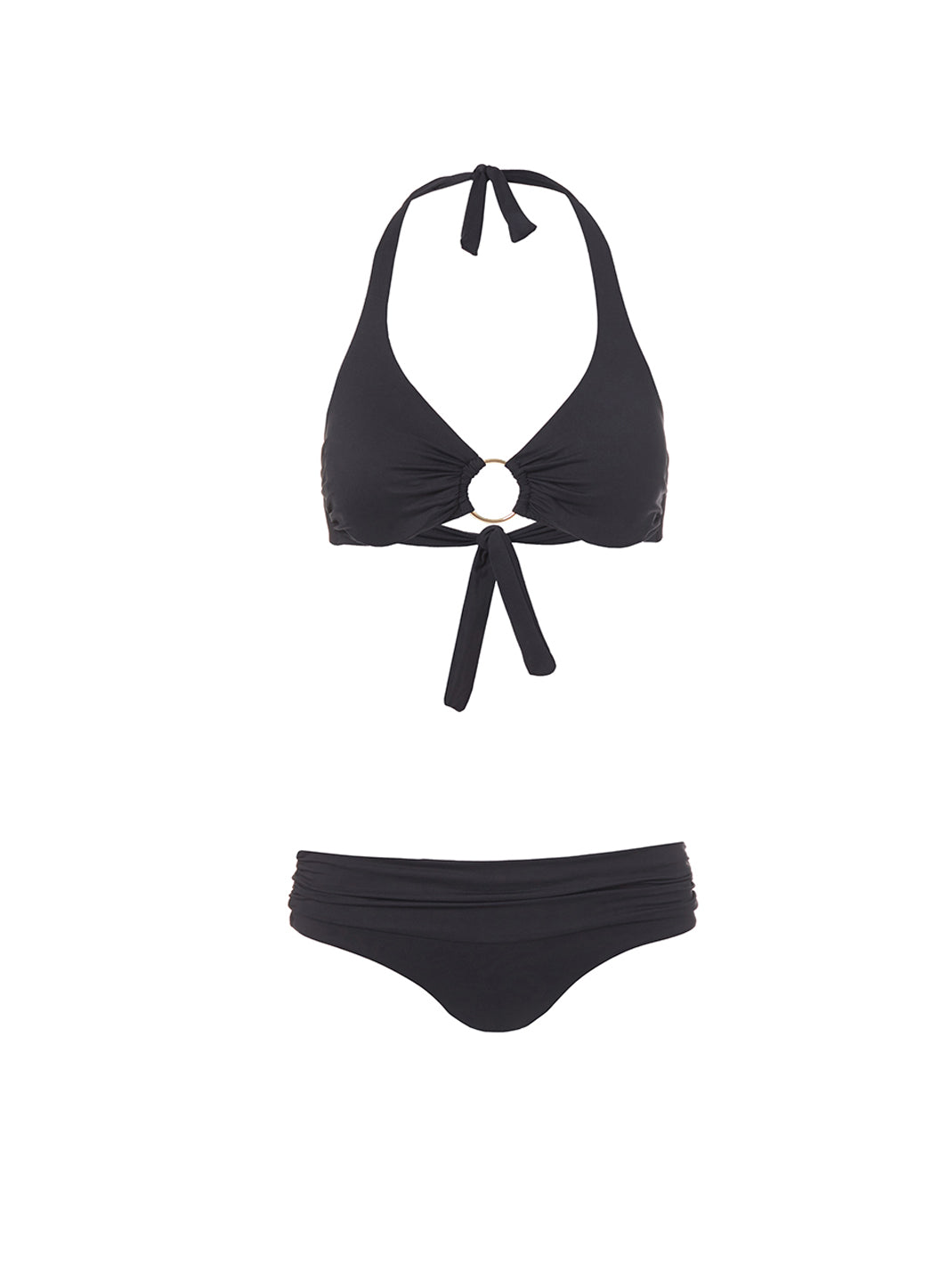 Brussels Black Halterneck Ring Supportive Bikini