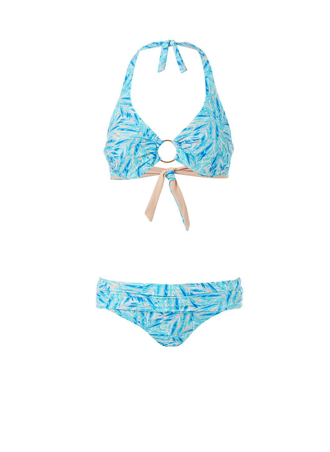 Brussels Blue Leaf Halterneck Ring Supportive Bikini - Melissa Odabash Swimwear