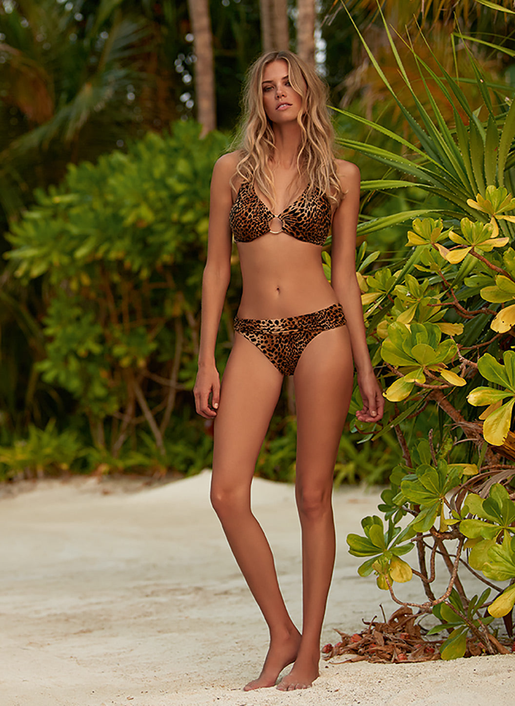 Brussels Cheetah Halterneck Ring Supportive Bikini