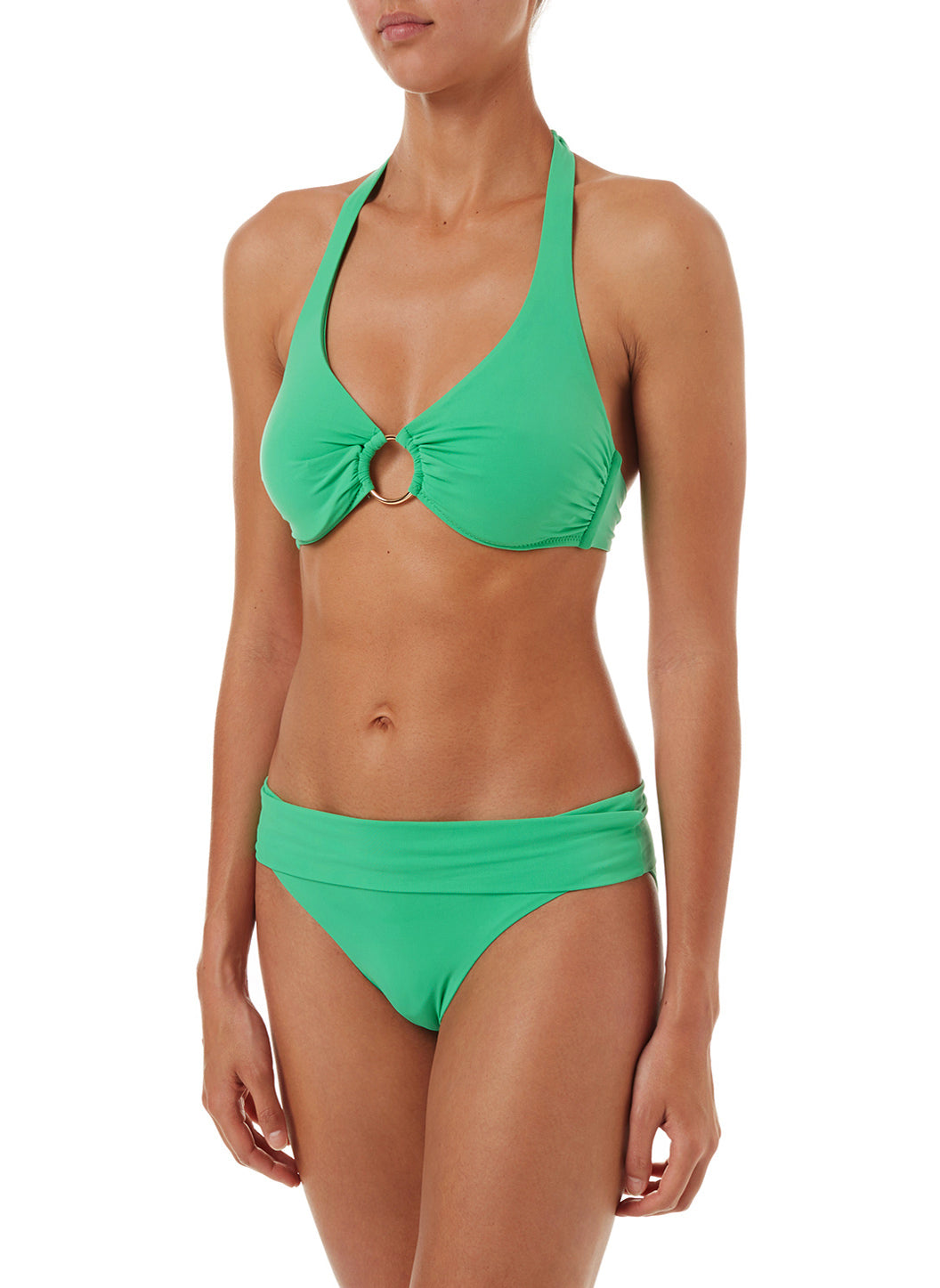 Brussels Green Halterneck Ring Supportive Bikini