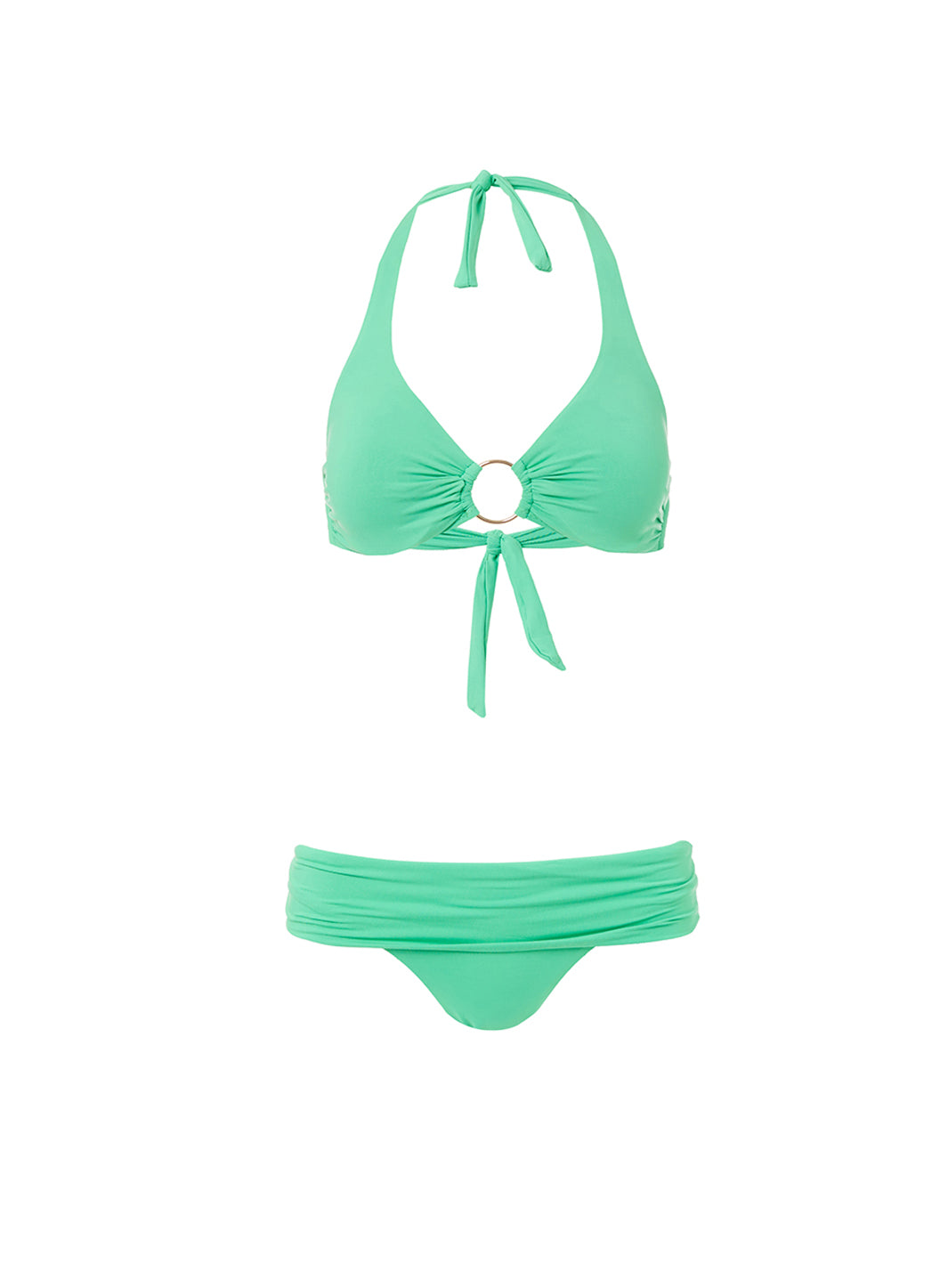 Brussels Green Halterneck Ring Supportive Bikini - Melissa Odabash Swimwear