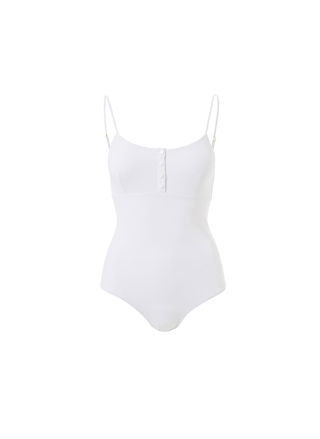 Calabasas White Ribbed Over The Shoulder Swimsuit  - Melissa Odabash One Piece