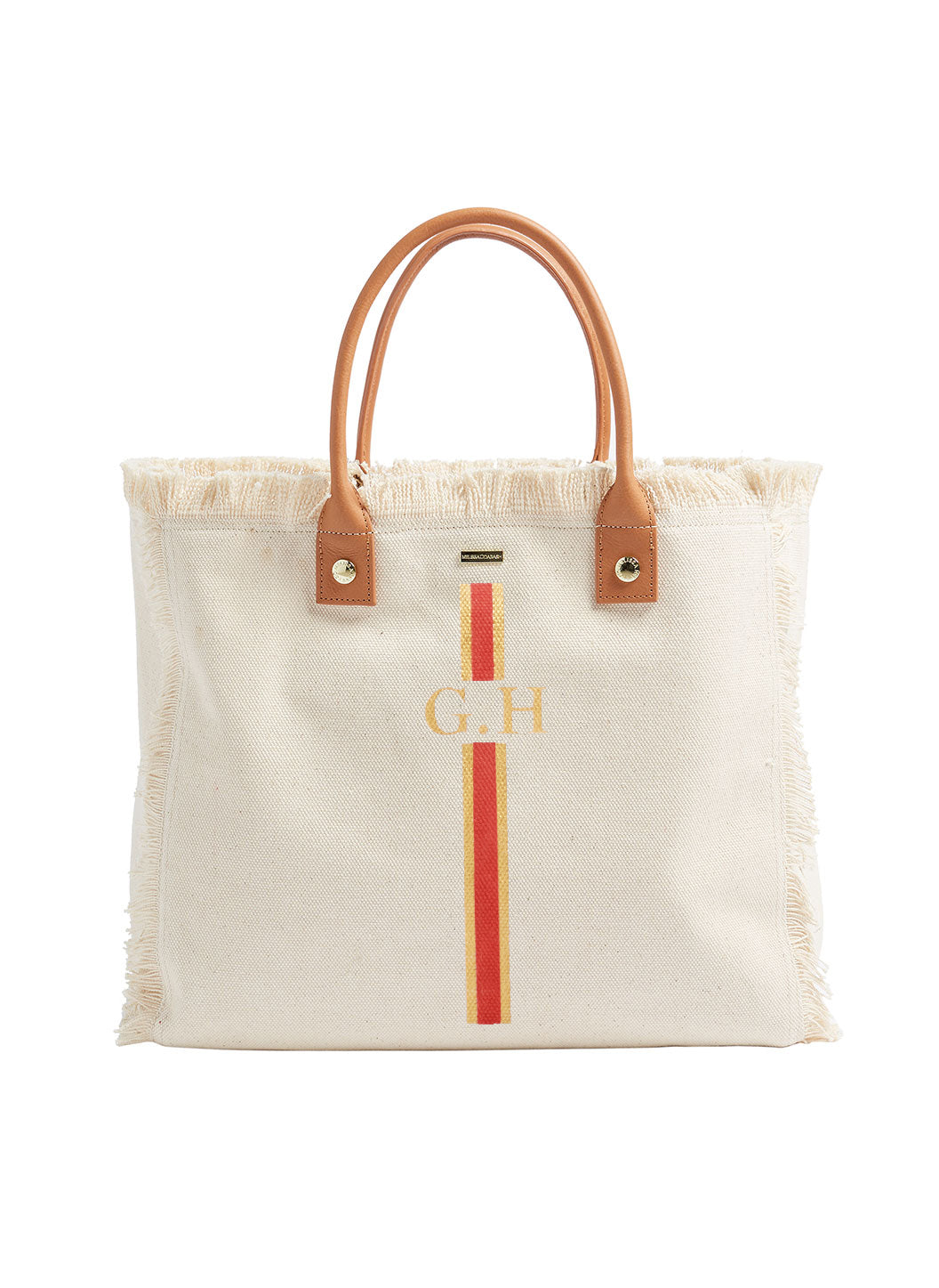 Melissa Odabash Capferrat Coral Stripe Large Beach Tote Beige - Melissa Odabash Personalised Bags