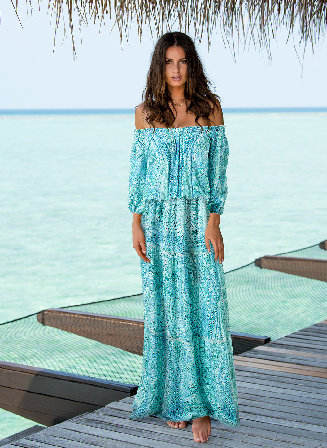 Casey Paisley Off The Shoulder Maxi Dress - Melissa Odabash Dresses & Kaftans