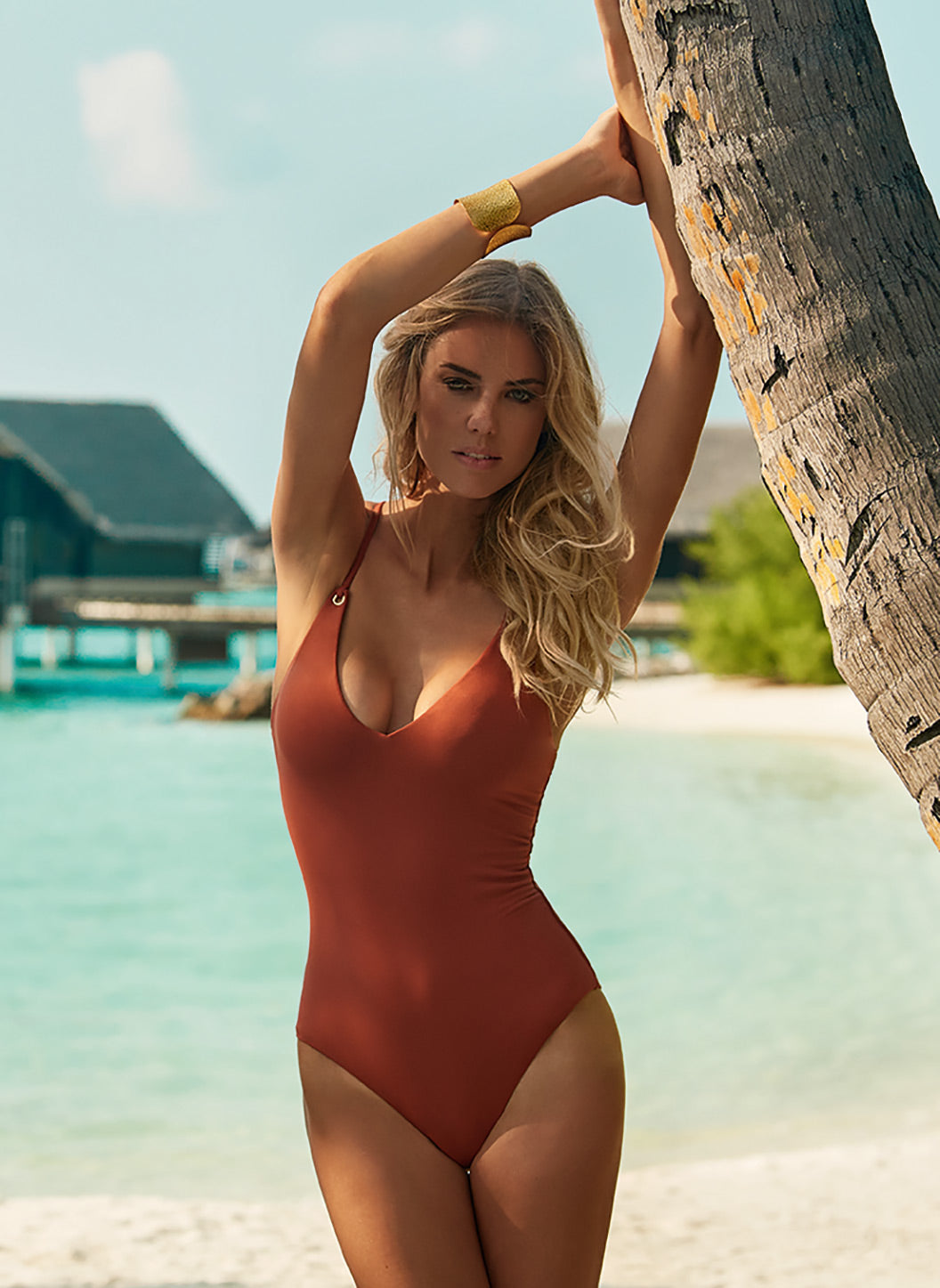 Catalina Cinnamon Over The Shoulder Crossback Swimsuit