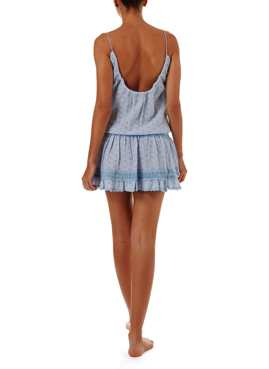 Chelsea Blue Open Back Short Beach Dress