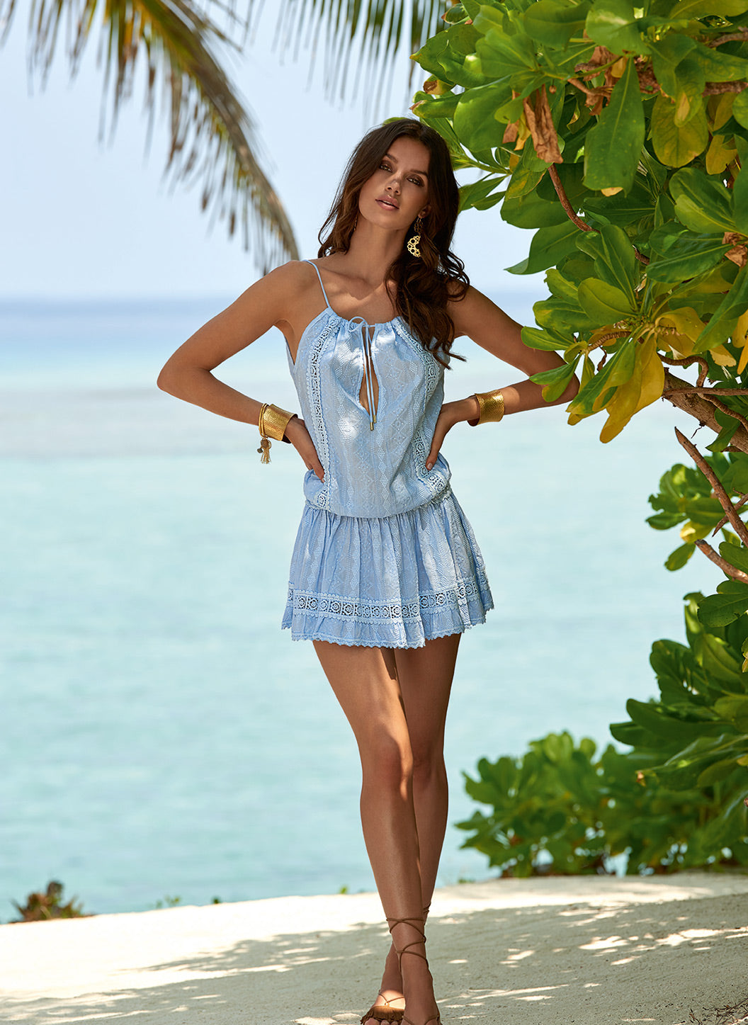 Chelsea Blue Open Back Short Beach Dress - Melissa Odabash Beachwear
