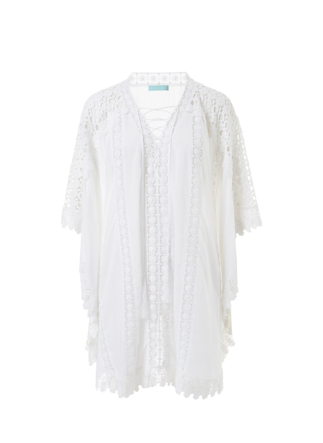Cindy White Lace Embroidered V-Neck Short Kaftan