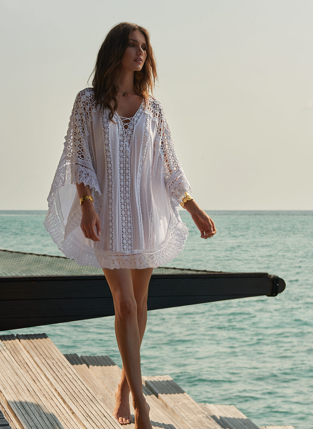 Cindy White Lace Embroidered V-Neck Short Kaftan - Melissa Odabash Dresses & Kaftans