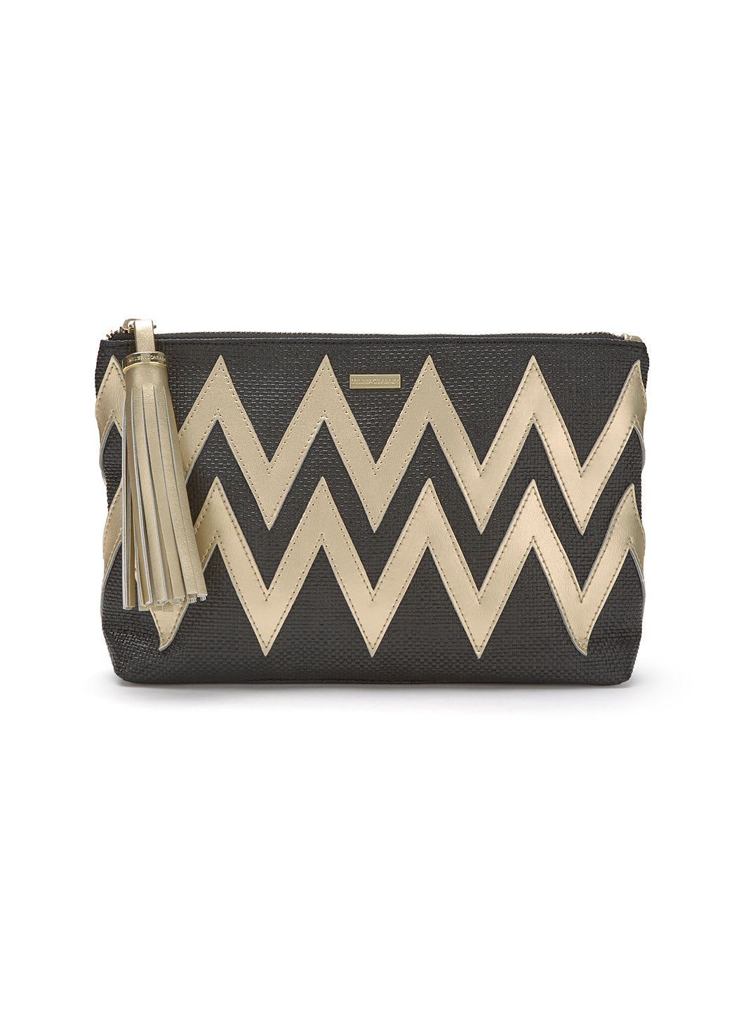 Crete Zigzag Clutch Black Gold - Melissa Odabash Accessories