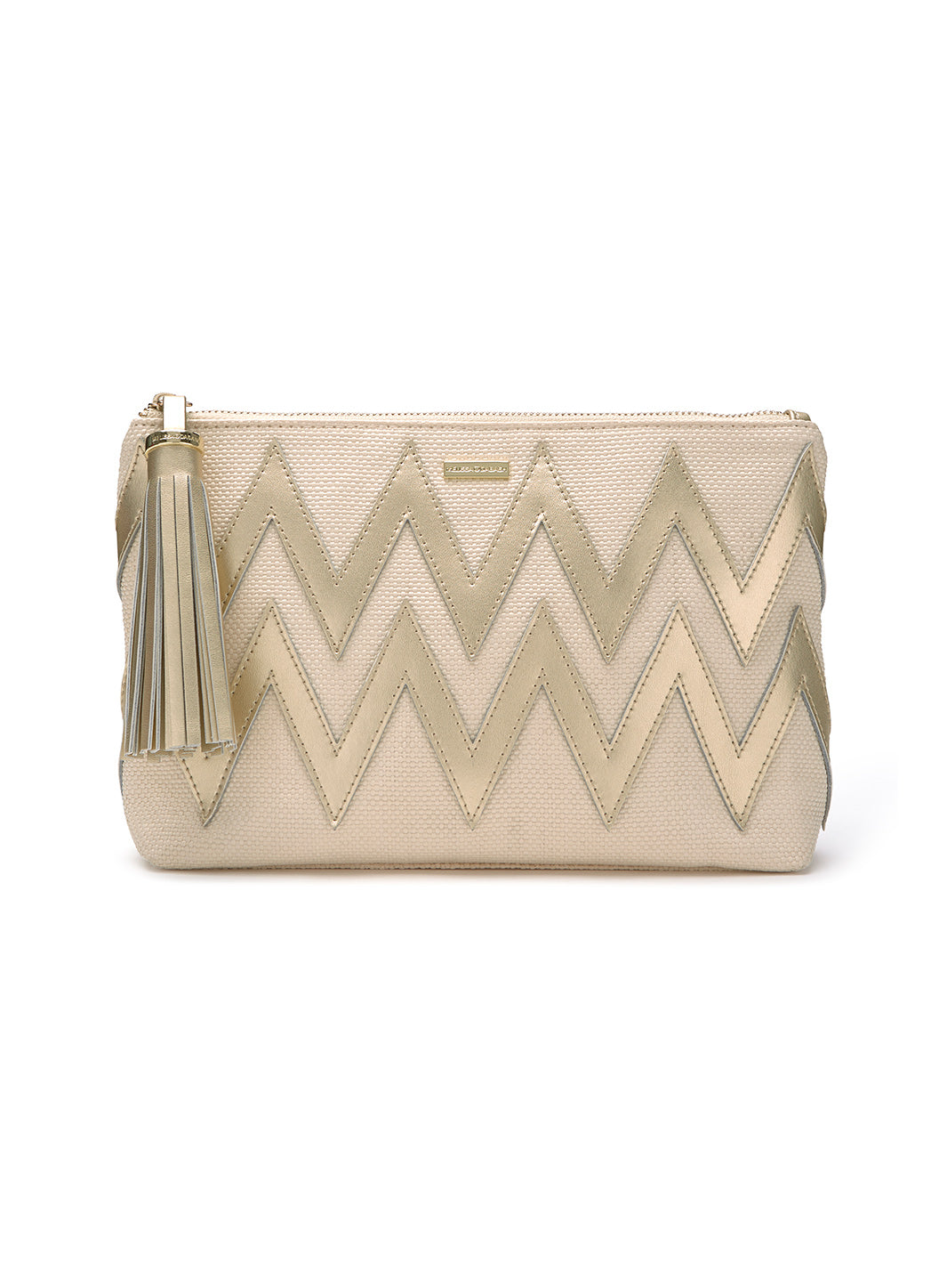 Crete Zigzag Clutch Cream Gold - Melissa Odabash Accessories