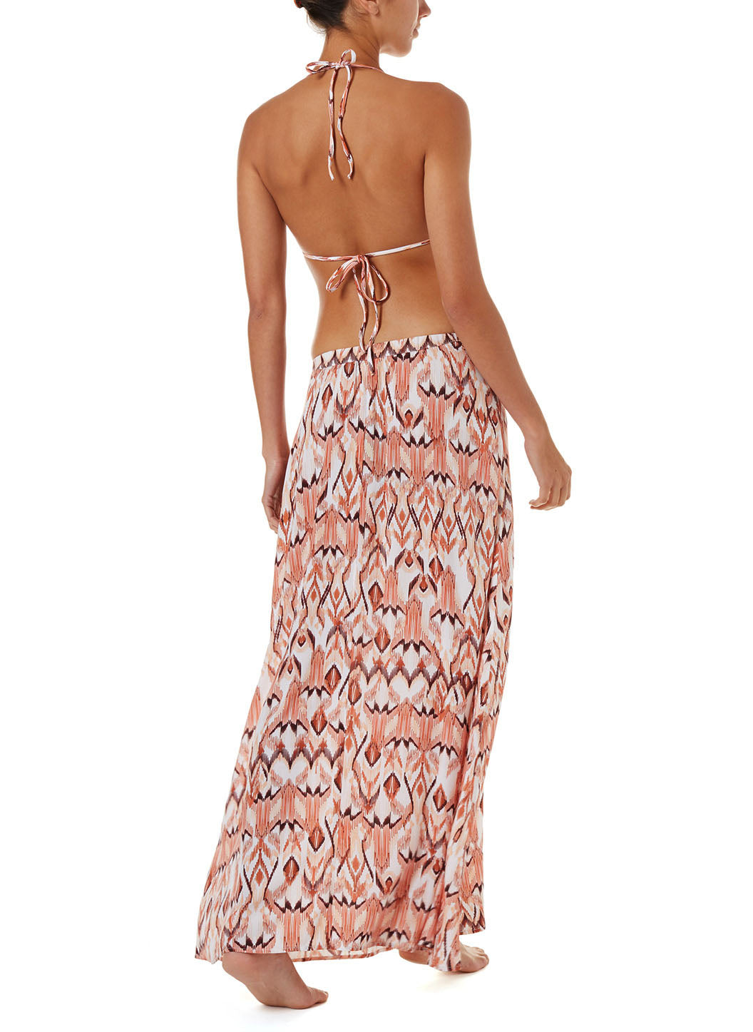 Daisy Ikat Button-Down Maxi Skirt