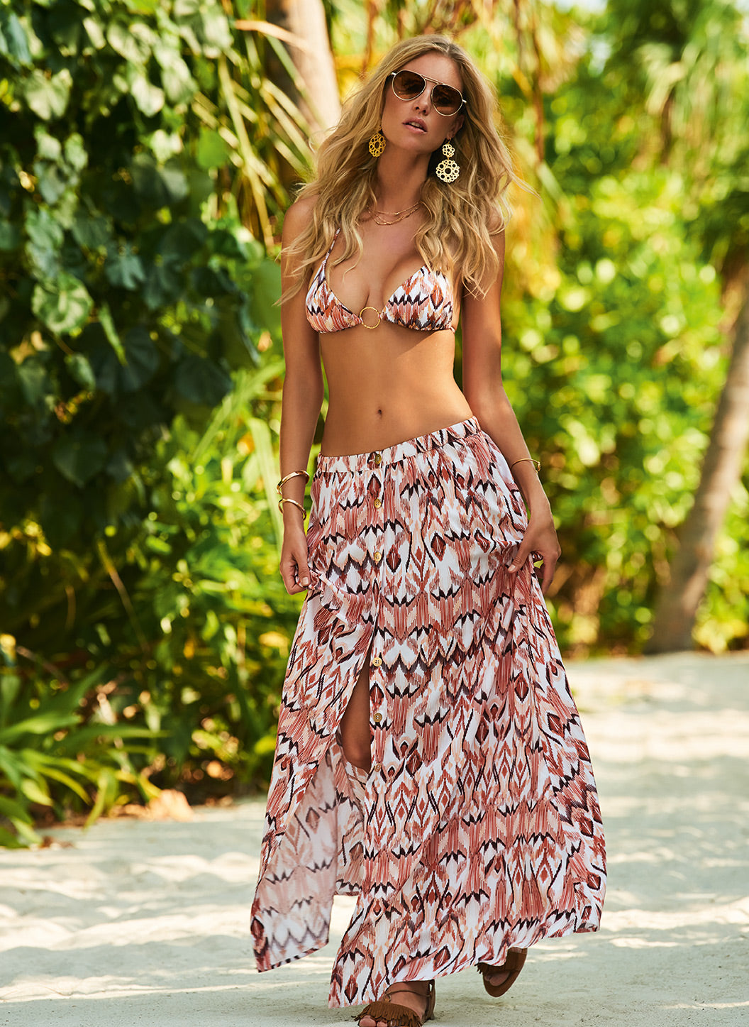 Daisy Ikat Button-Down Maxi Skirt - Melissa Odabash Tops & Bottoms