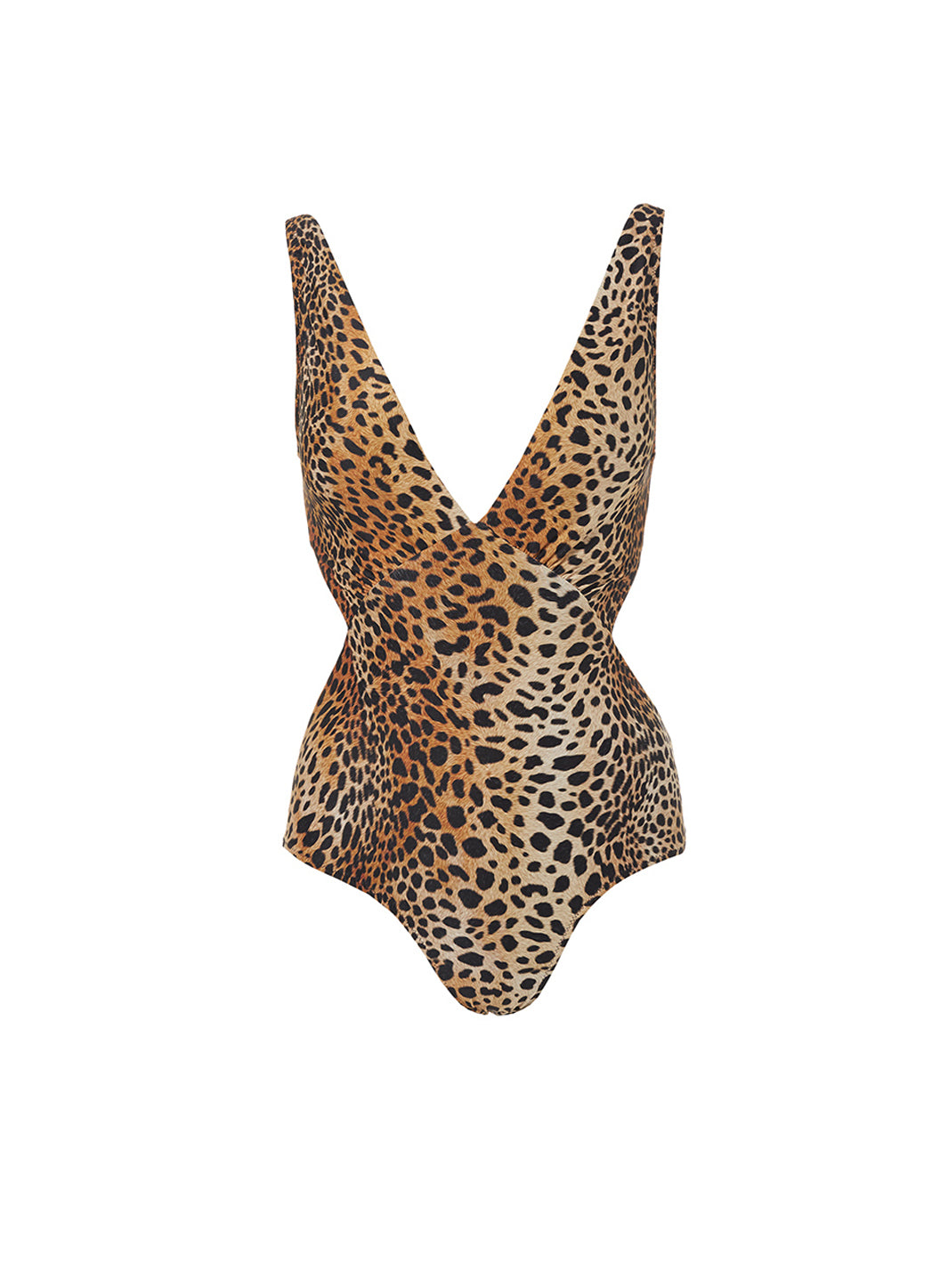 Delmar Cheetah Over The Shoulder V Neck Cut Out Swimsuit - Melissa Odabash Swimwear