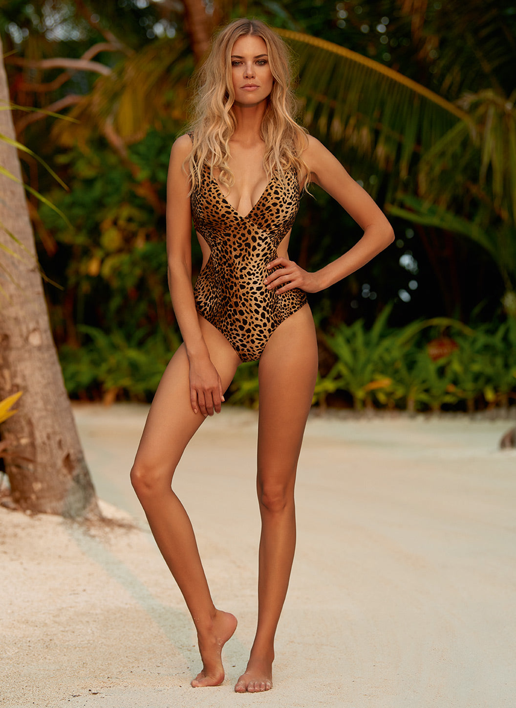 Delmar Cheetah Over The Shoulder V-Neck Cut Out Swimsuit - Melissa Odabash Swimwear