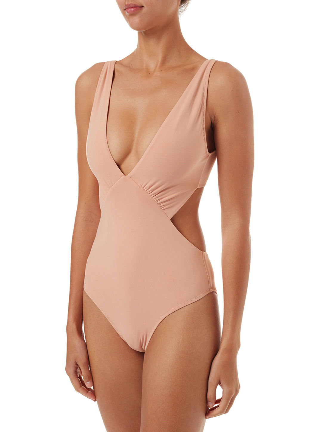 Delmar Tan Over The Shoulder V-Neck Cut Out Swimsuit