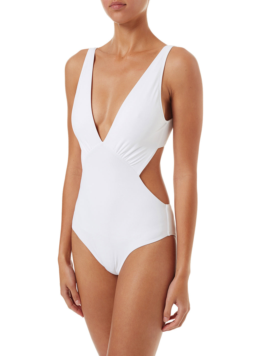 Delmar White Over The Shoulder V-Neck Cut Out Swimsuit