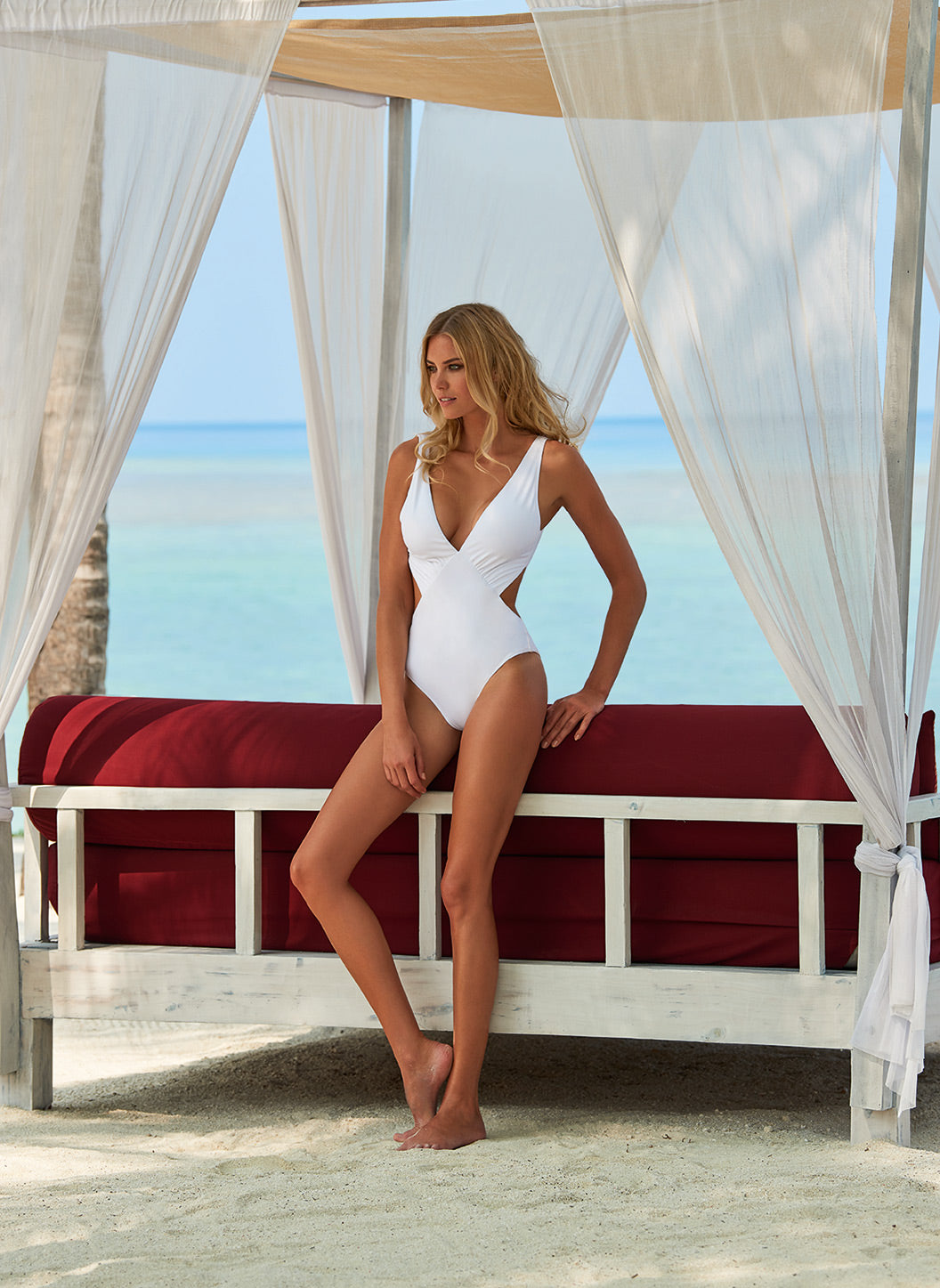 Delmar White Over The Shoulder V Neck Cut Out Swimsuit