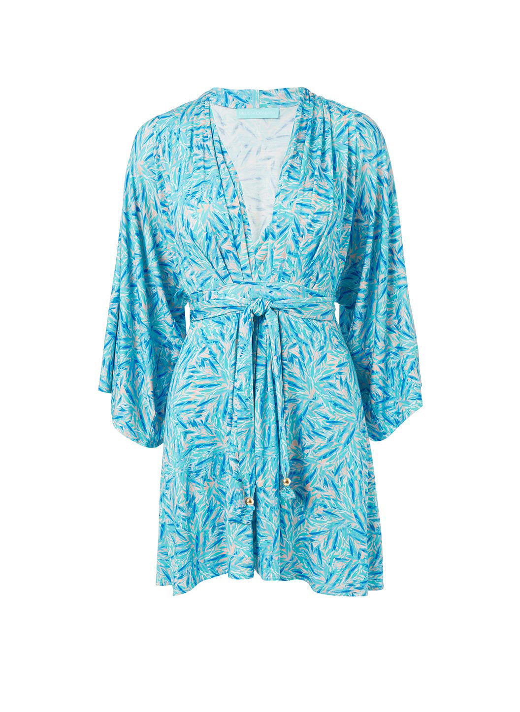 Elle Blue Leaf Belted Short Dress - Melissa Odabash Dresses & Kaftans