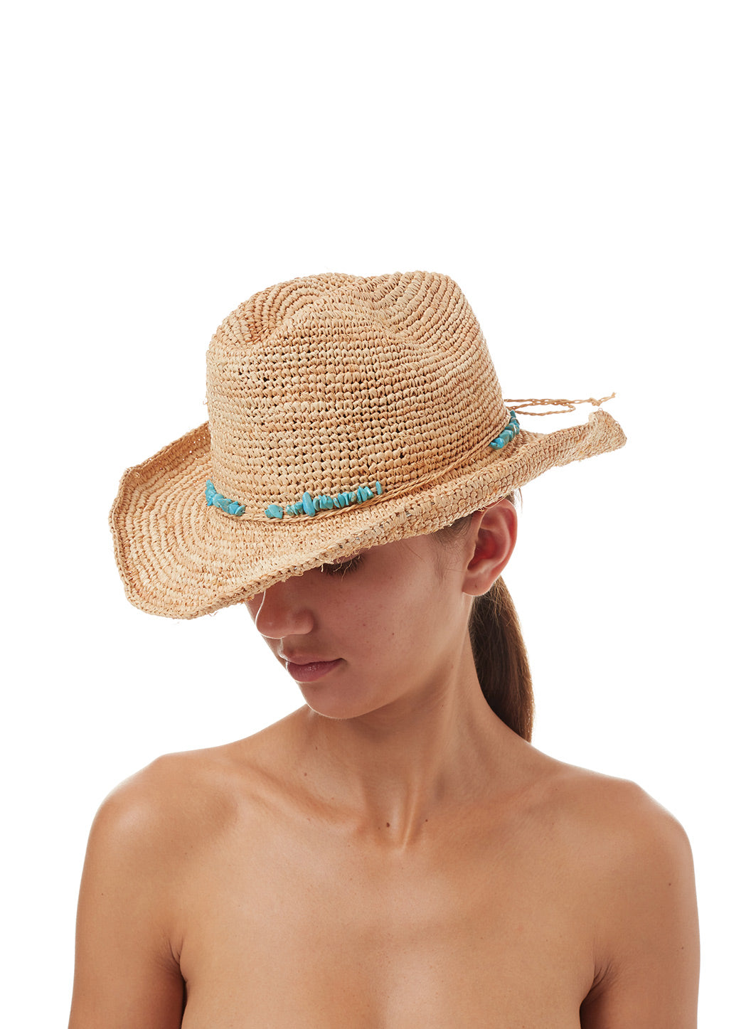 Elle Cowboy Hat Natural - Melissa Odabash Accessories