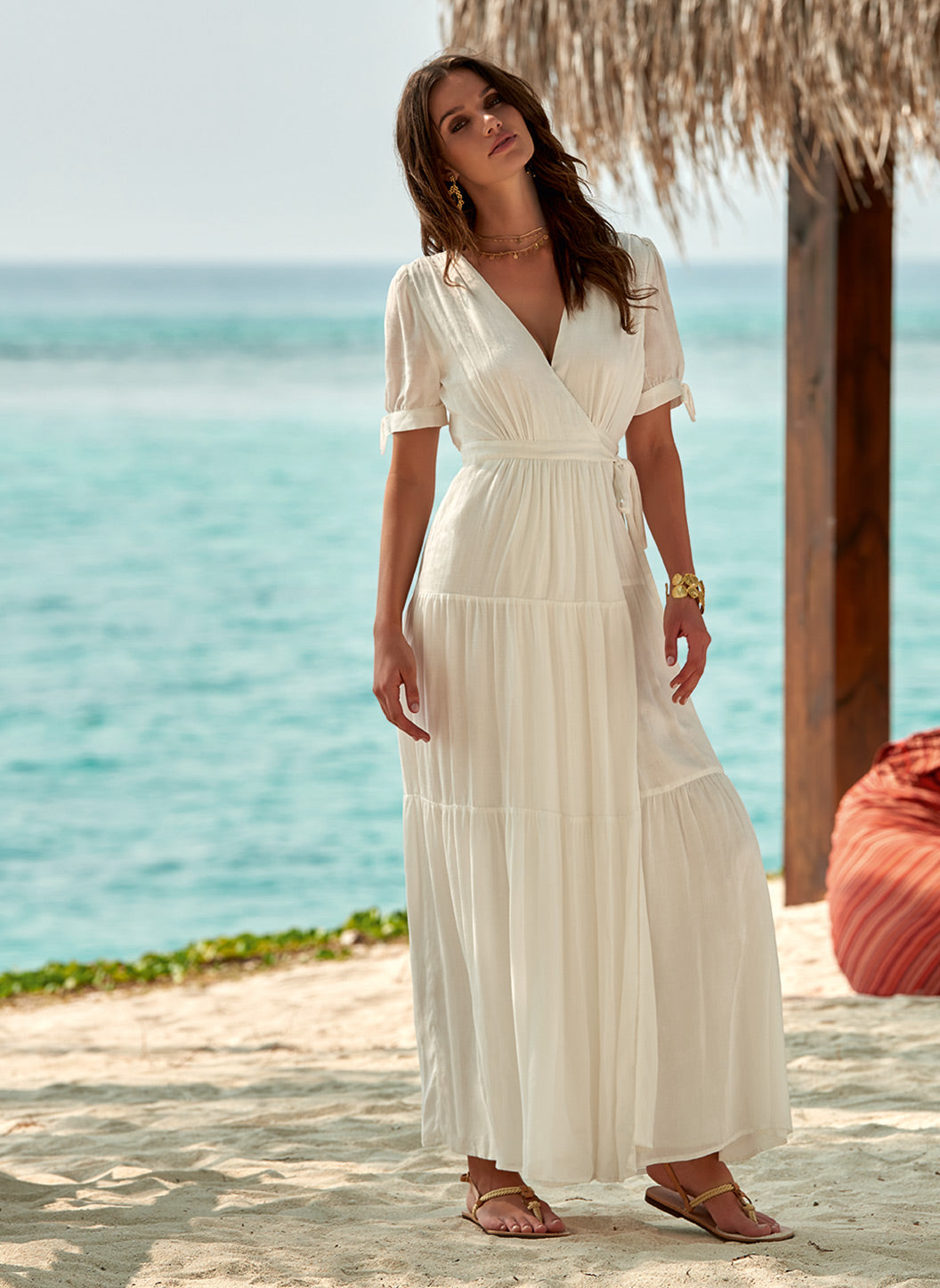 Emily Maxi Wrap Dress Cream - Melissa Odabash Beachwear