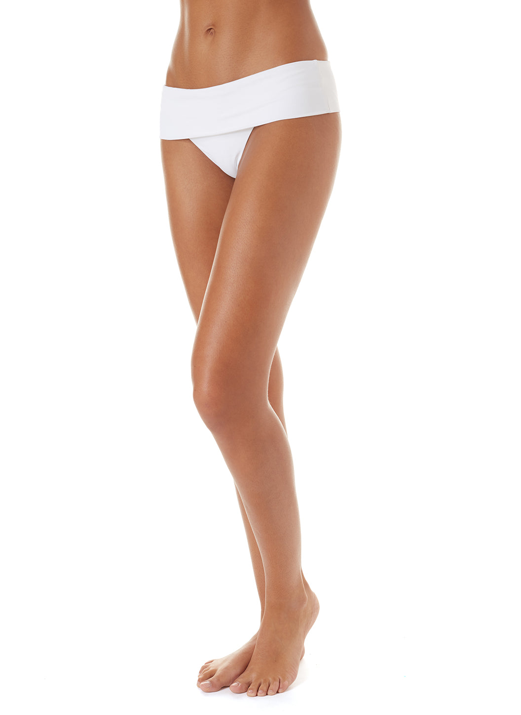 Exclusive Brussels Fold-Over Bikini Bottom White - Melissa Odabash Swimwear