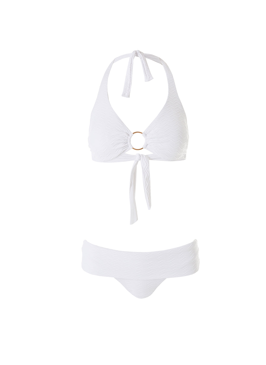 Exclusive Brussels White Zig Zag Halterneck Ring Supportive Bikini