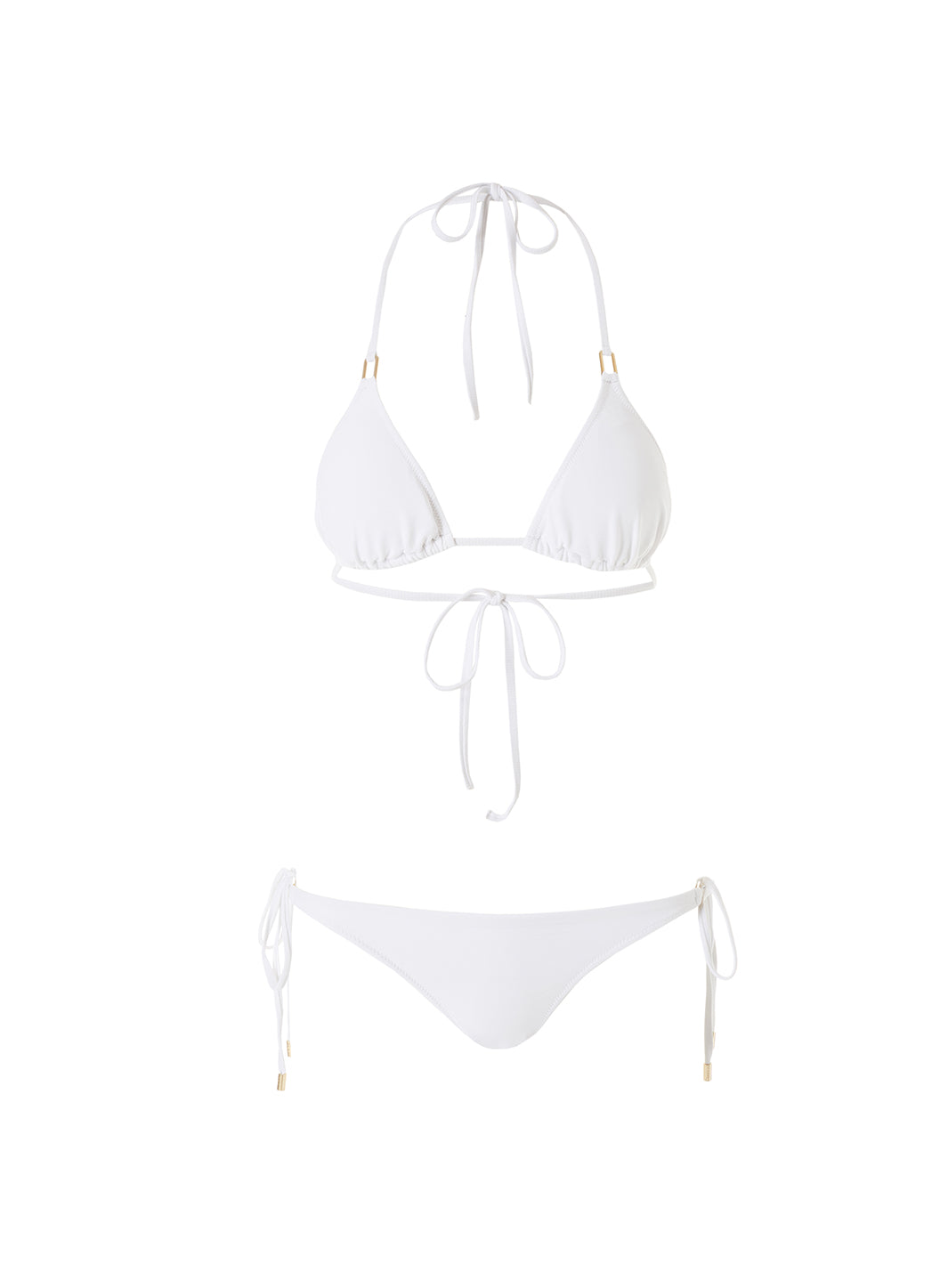 Exclusive Cancun White Ribbed Classic Triangle Bikini - Melissa Odabash Triangle Bikinis