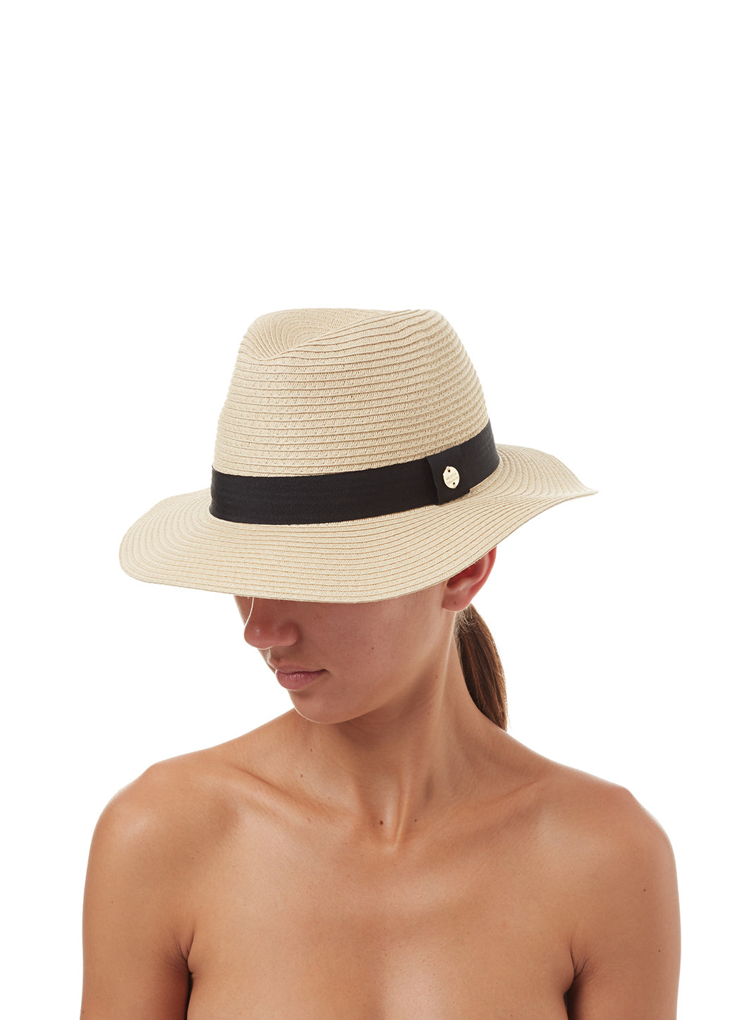 Fedora Hat Beige Black - Melissa Odabash Accessories