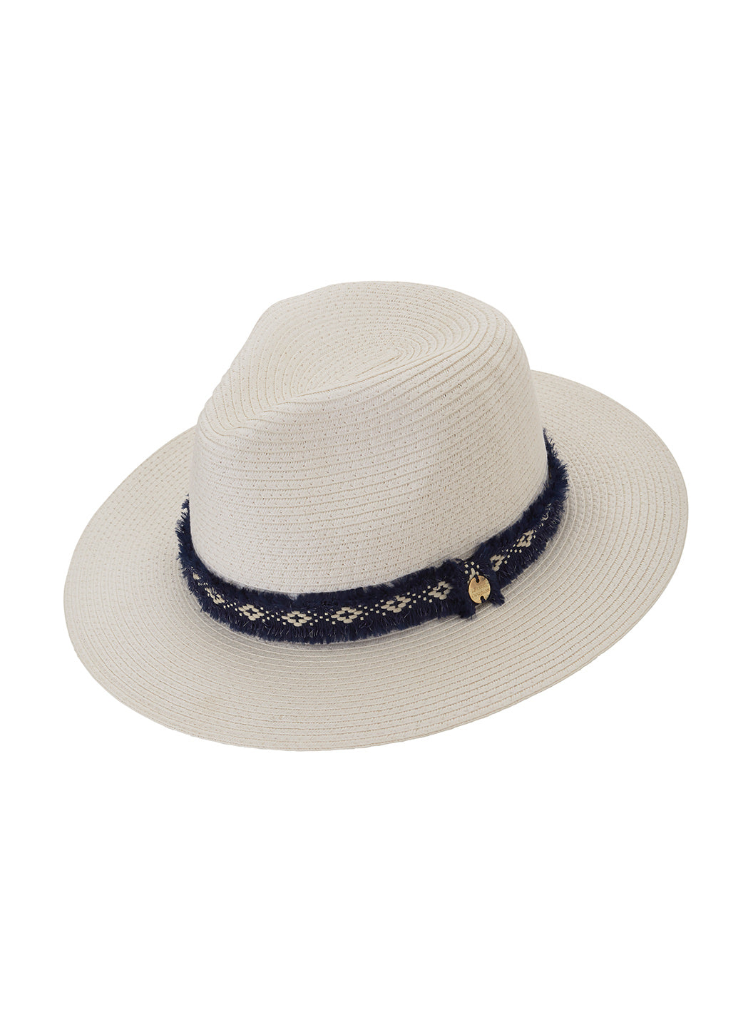 Fedora Hat White Navy - Melissa Odabash Accessories
