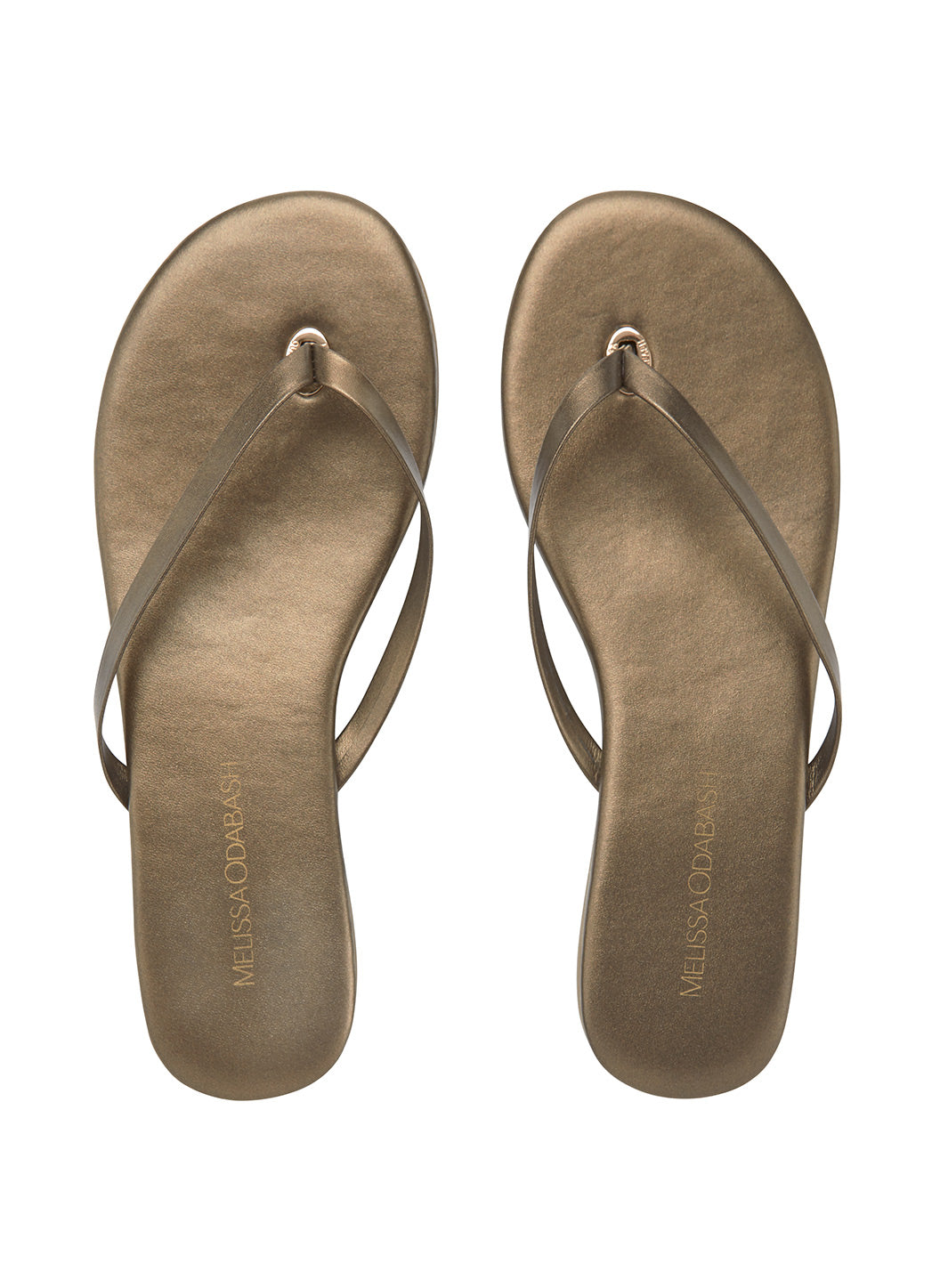 Leather Flip Flops Bronze - Melissa Odabash Leather Flip Flops