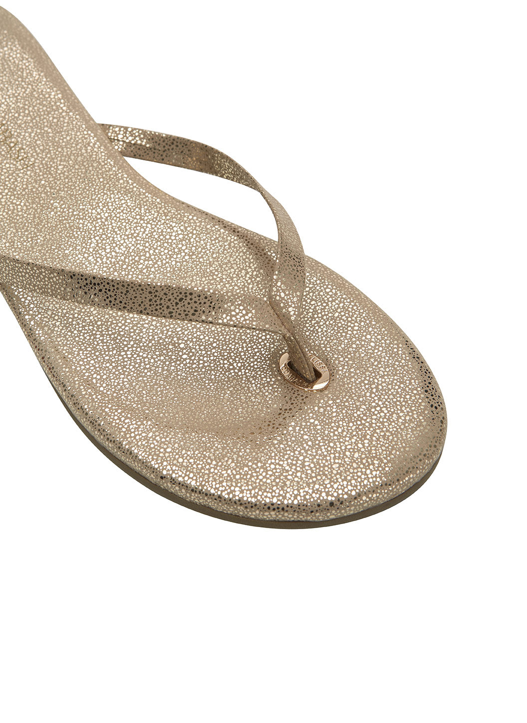 Melissa Odabash Leather Flip Flops Gold Sparkle