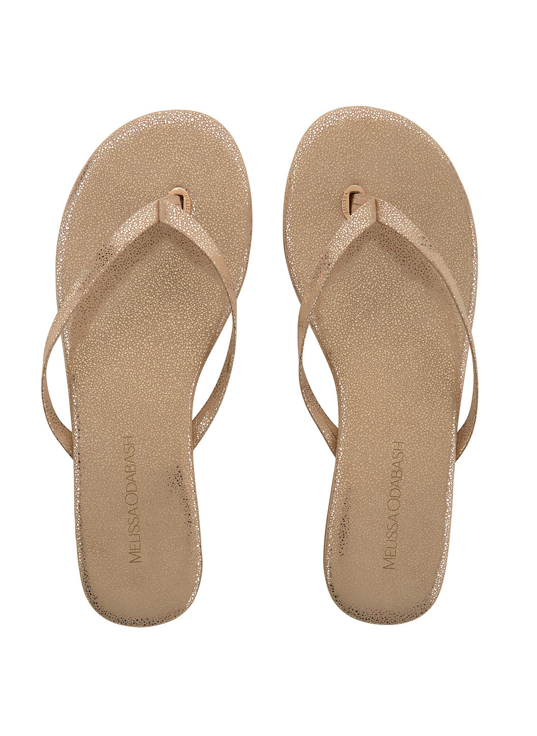 Leather Flip Flops Gold Sparkle