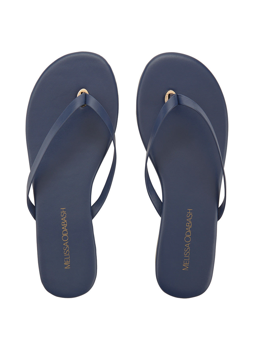 Leather Flip Flops Navy  - Melissa Odabash Leather Flip Flops