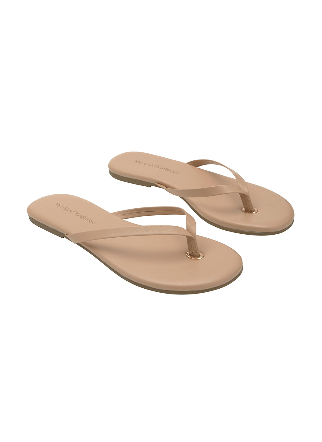 Leather Flip Flops Nude