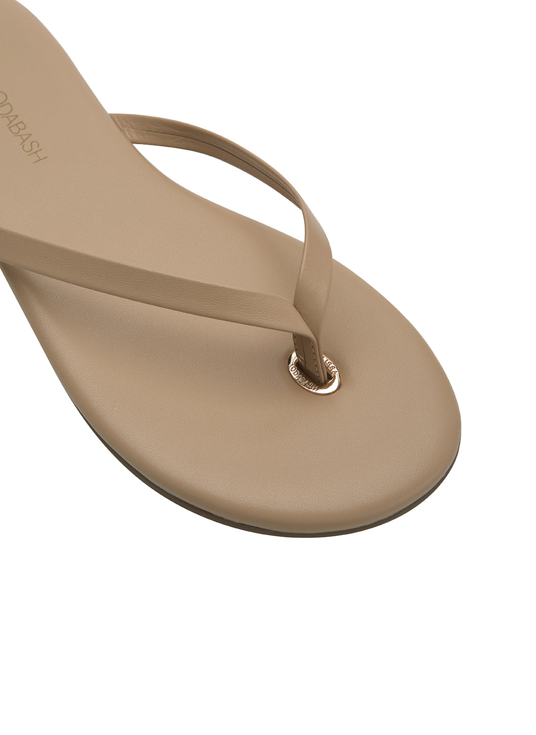 Leather Flip Flops Nude - Melissa Odabash Leather Flip Flops